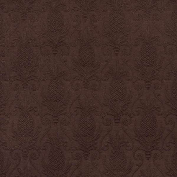 E520 Brown Pineapple Durable Jacquard Upholstery Grade Fabric (By The Yard)