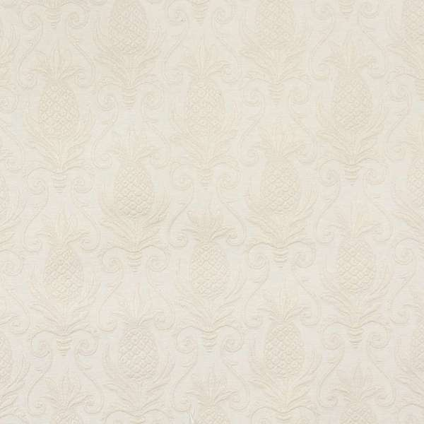 E526 Off White Pineapple Jacquard Upholstery Grade Fabric (By The Yard)