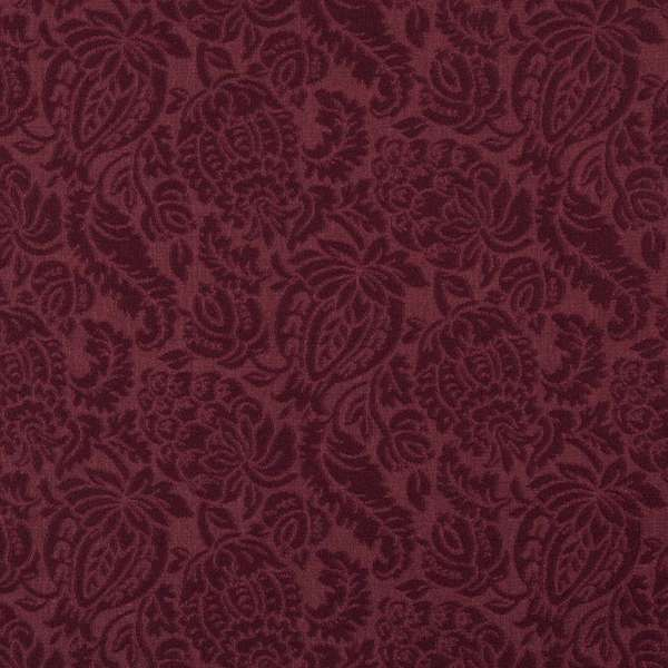 E554 Burgundy Floral Durable Jacquard Upholstery Grade Fabric (By The Yard)