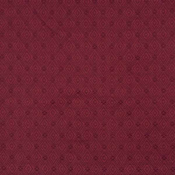 E563 Burgundy Diamond Durable Jacquard Upholstery Grade Fabric (By The Yard)