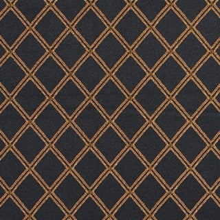E612 Diamond Black Gold Green and Orange Damask Upholstery Fabric (By The Yard)