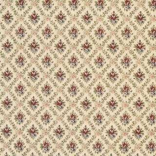 F920 Gold Burgundy Green Floral Diamond Tapestry Upholstery Fabric By The Yard