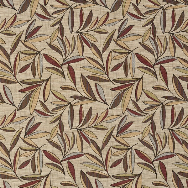 Red, Gold And Green Leaves Woven High End Quality Upholstery Fabric By The Yard