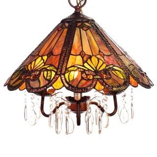 Ameria 3-light Red Tiffany-style Hanging Lamp
