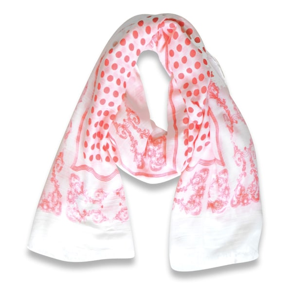 Peach Couture Paisley Bordered Polka Dot Print Lightweight Eyelash Fringe Scarf (Coral)