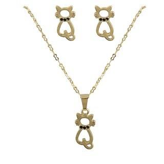 Gold Finish Black Enamel Cat Earrings and Pendant Necklace Set