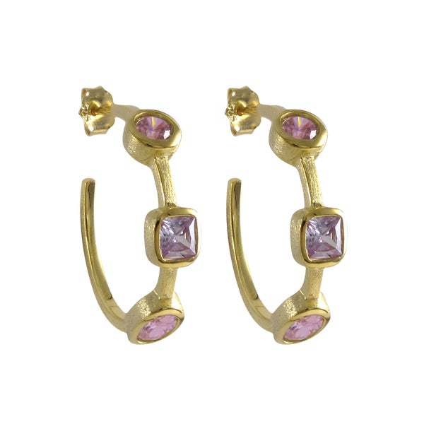 Sterling Silver Matte Gold Finish Pink and Blue Cubic Zirconia Hoop Earrings