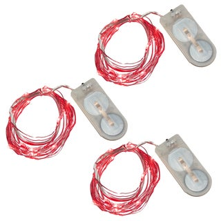 Battery Operated Mini String Lights - Red (Set of 3)