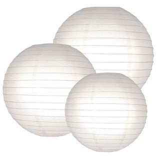 Multi Size Round Paper Lanterns - White (Set of 6)