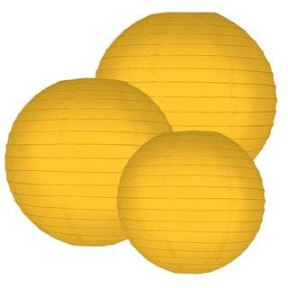 Multi Size Round Paper Lanterns - Sunflower Yellow (Set of 6)
