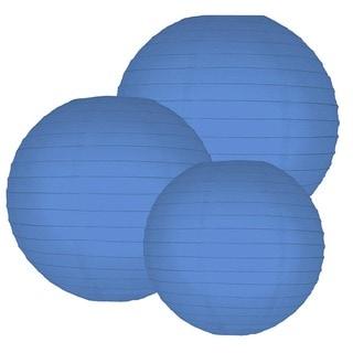 Multi Size Round Paper Lanterns - Blue (Set of 6)
