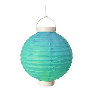 Battery Operated Turquoise Paper Lanterns (Set of 3)