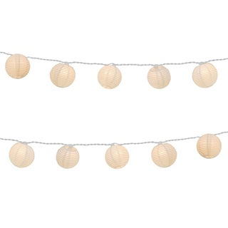 Electric String Lights with Round 3-inch Paper Lanterns - White