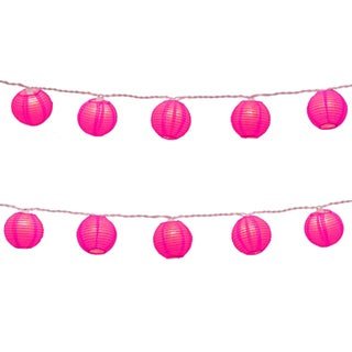 Electric String Lights with Round 3-inch Fuchsia Nylon Lanterns