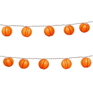 Electric String Lights with Round 3-inch Paper Lanterns - Orange