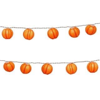 Electric String Lights with Round 3-inch Paper Lanterns - Orange