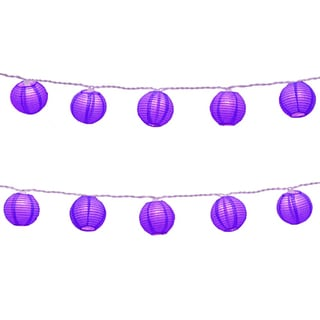 Electric String Lights with Round 3-inch Paper Lanterns - Purple