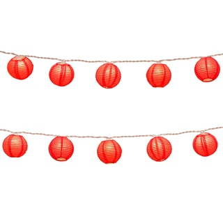 Electric String Lights with Round 3-inch Paper Lanterns - Red