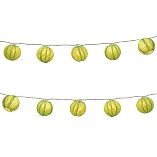 Electric String Lights with Round 3-inch Paper Lanterns - Green
