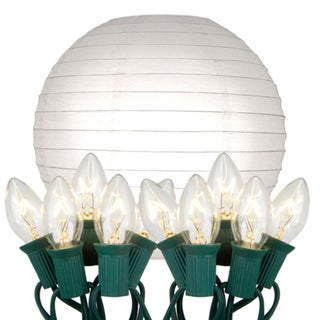Electric String Lights with Paper Lanterns - White (Set of 10)