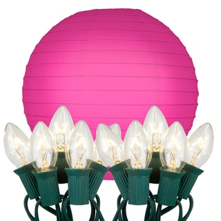 Electric String Lights with Paper Lanterns - Pink (Set of 10)