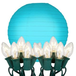 Electric Turquoise String Lights with Paper Lanterns (Set of 10)