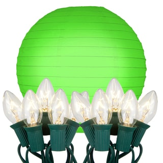 Electric String Lights with Paper Lanterns - Green (Set of 10)