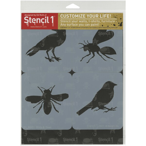 Stencil1 Set 4/Pkg Bird & Bees Theme