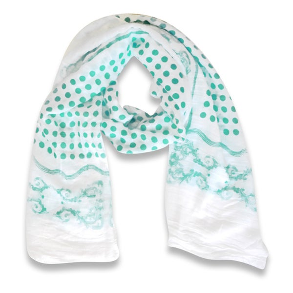 Peach Couture Paisley Bordered Polka Dot Print Lightweight Eyelash Fringe Scarf (Mint)