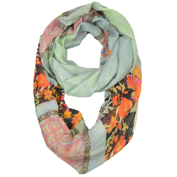 Embroidered Floral Infinity Scarf