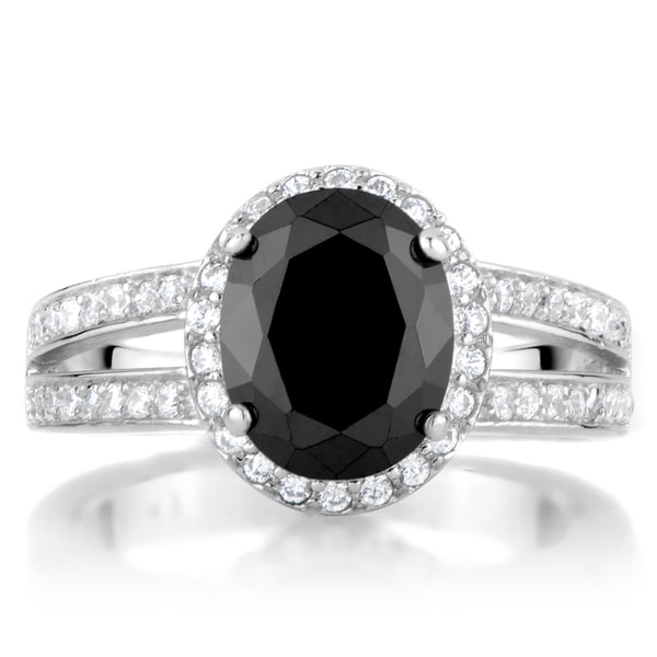 3 Carat look Oval CZ Black and White Engagement Ring