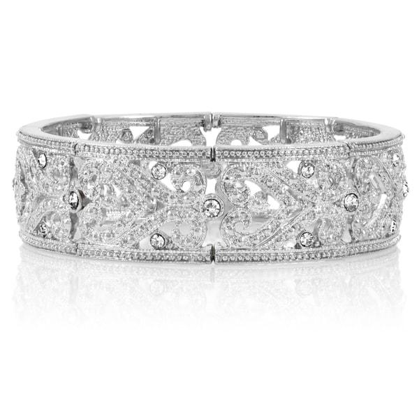 Heart Swirl Vintage Crystal Stretch Bracelet