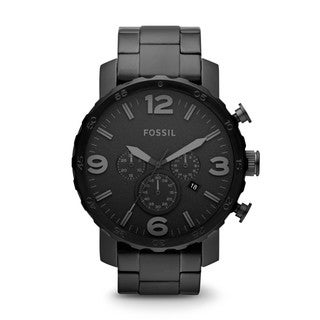 Fossil Men's JR1401 Nate Chronograph Black Stainless Steel Watch