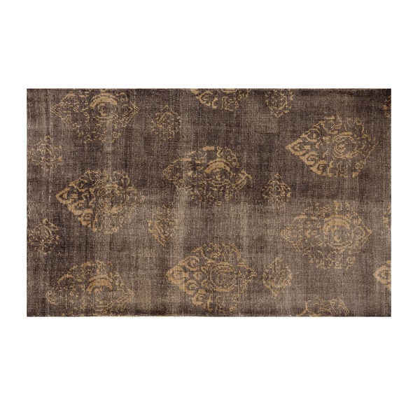 Aurelle Home Hand-knotted Wool/ Cotton Grey Rug (5' x 8')