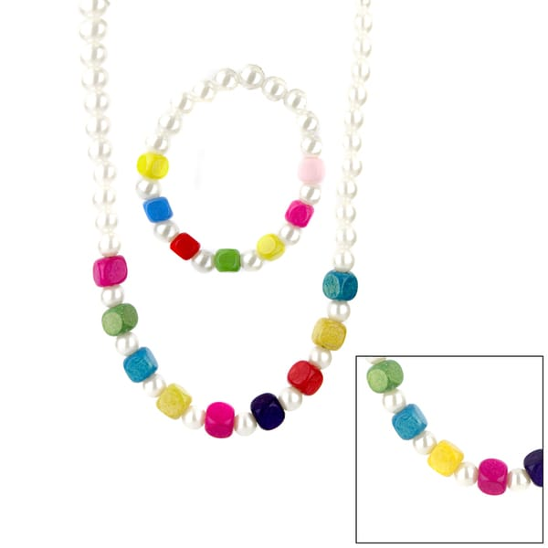 Little Girl Faux Pearl and Colorful Wooden Bead Jewelry Set