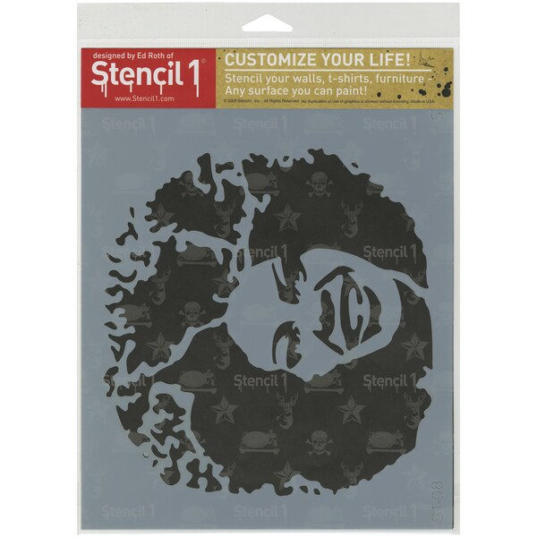 Stencil1 8.5inX11in Stencil Afro Girl