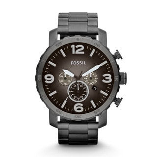 Fossil Men's JR1437 Nate Chronograph Smoke Stainless Steel Watch