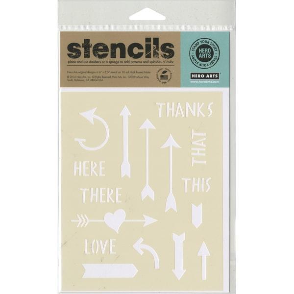 Hero Arts Stencils 6.25inX5.25in Arrows & Messages