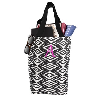 Personalized Black and White Ikat Jute Market Tote