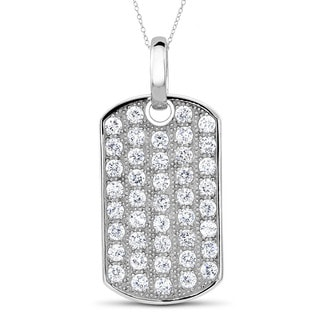 Sterling Silver Cubic Zirconia Dog Tag Necklace