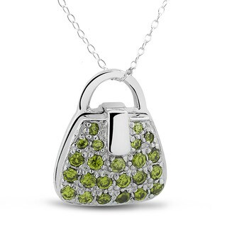 Sterling Silver Peridot Cubic Zirconia Purse Locket Necklace