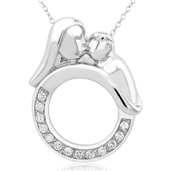 Sterling Silver Cubic Zirconia Mother Daughter Necklace
