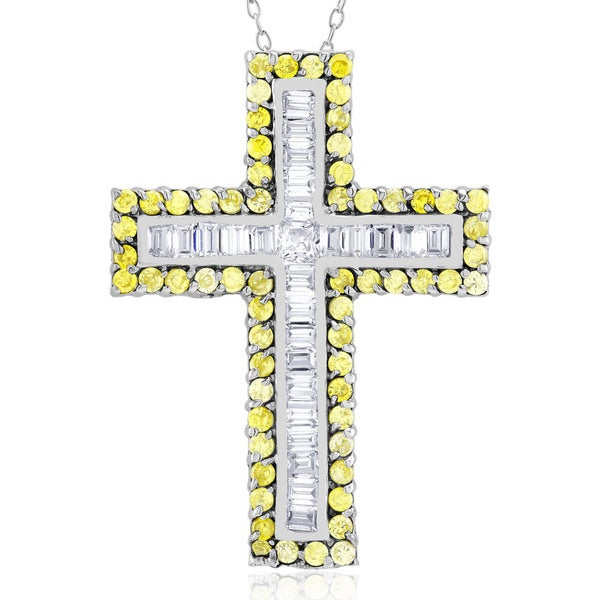 Sterling Silver Yellow Cubic Zirconia Cross Necklace