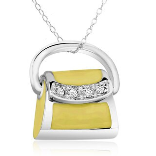 Sterling Silver Cubic Zirconia and Yellow Enamel Purse Locket