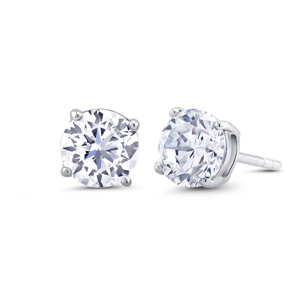 Sterling Silver 4mm Round Cubic Zirconia Stud Earrings