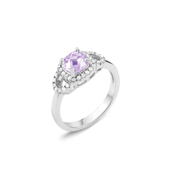 Sterling Silver Cushion-cut Amethyst February Cubic Zirconia Ring