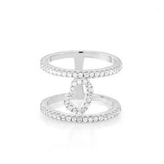 Sterling Silver Cubic Zirconia Double-row Heart Ring
