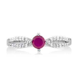Sterling Silver Genuine Round Ruby and Cubic Zirconia Split Shank Ring