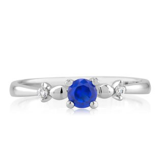 Sterling Silver Genuine Round Sapphire and Cubic Zirconia Ring