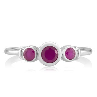 Sterling Silver Genuine Round Ruby Ring